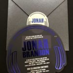 Headphone bar mitzvah invitations by Charu
